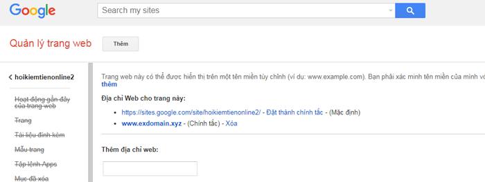 Domain đã được trỏ thành công trong googlesite