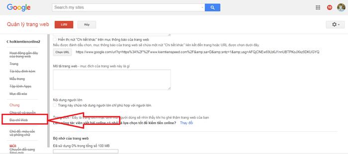 Add địa chỉ web vào googlesite