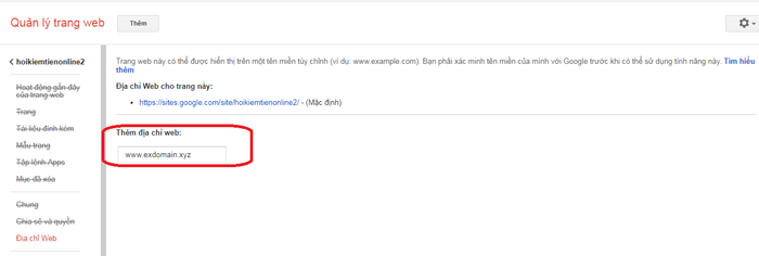 Thêm địa chỉ domain cả www vào googlesite