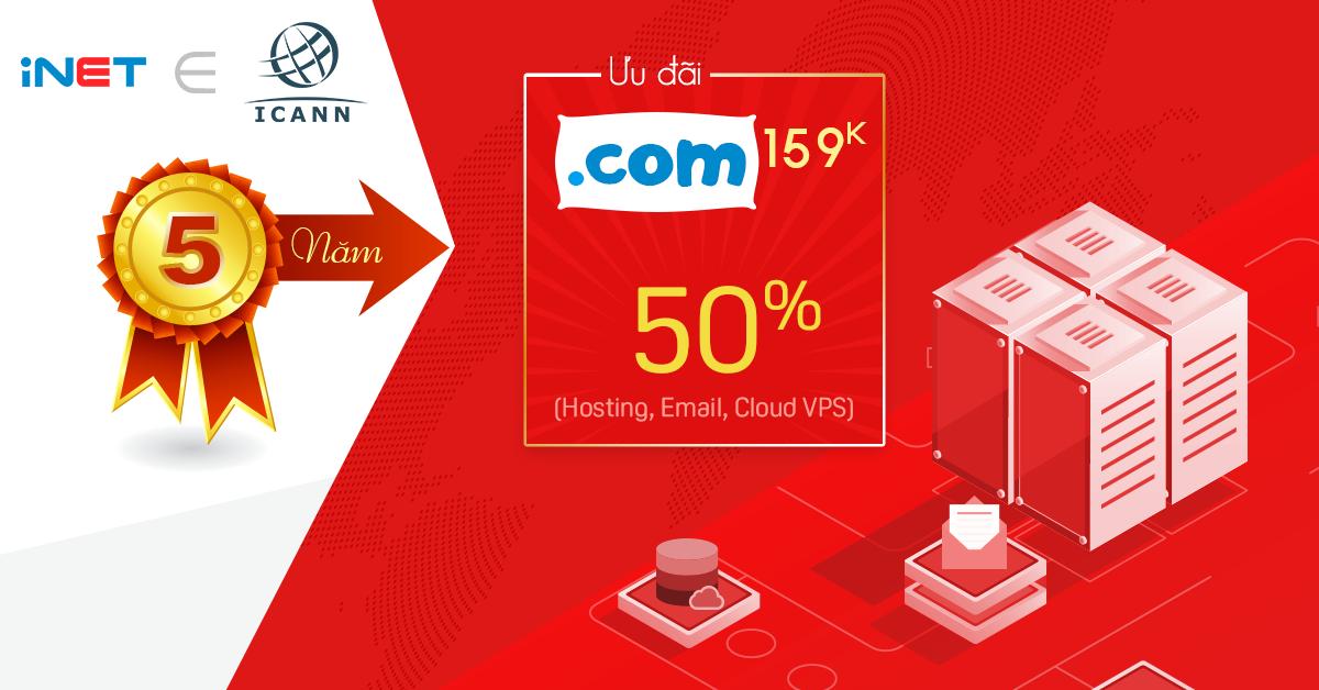 Tên miền .COM giá rẻ nhất Việt Nam, chỉ còn 159K/ năm đầu tiên (Giá gốc 239K)