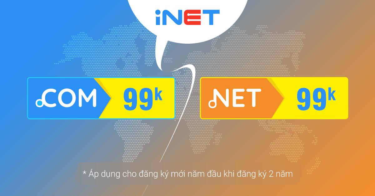 Khuyến mãi tên miền Quốc tế .COM .NET tại iNET 2